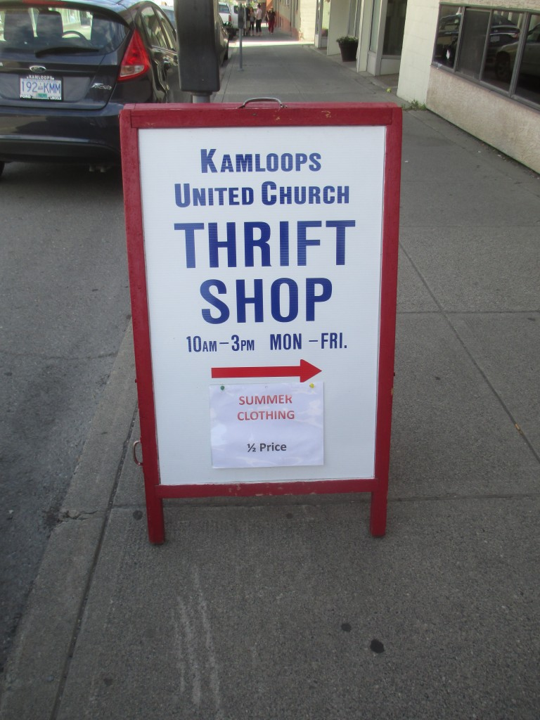 KUC Thrift Shop sidewalk sign