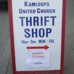 KUC Thrift Shop sidewalk sign
