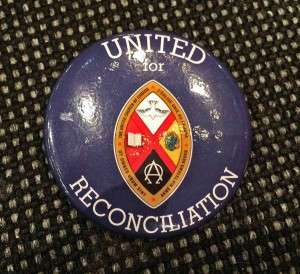 Button to identify United Church members on the pilgrimage of reconciliation.  Photo: Kim Uyede-Kai.
